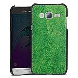 DeinDesign Cover kompatibel mit Samsung Galaxy J3 Duos 2016 Lederhülle schwarz Leder Hülle Leder Handyhülle Gras Rasen Grashalme