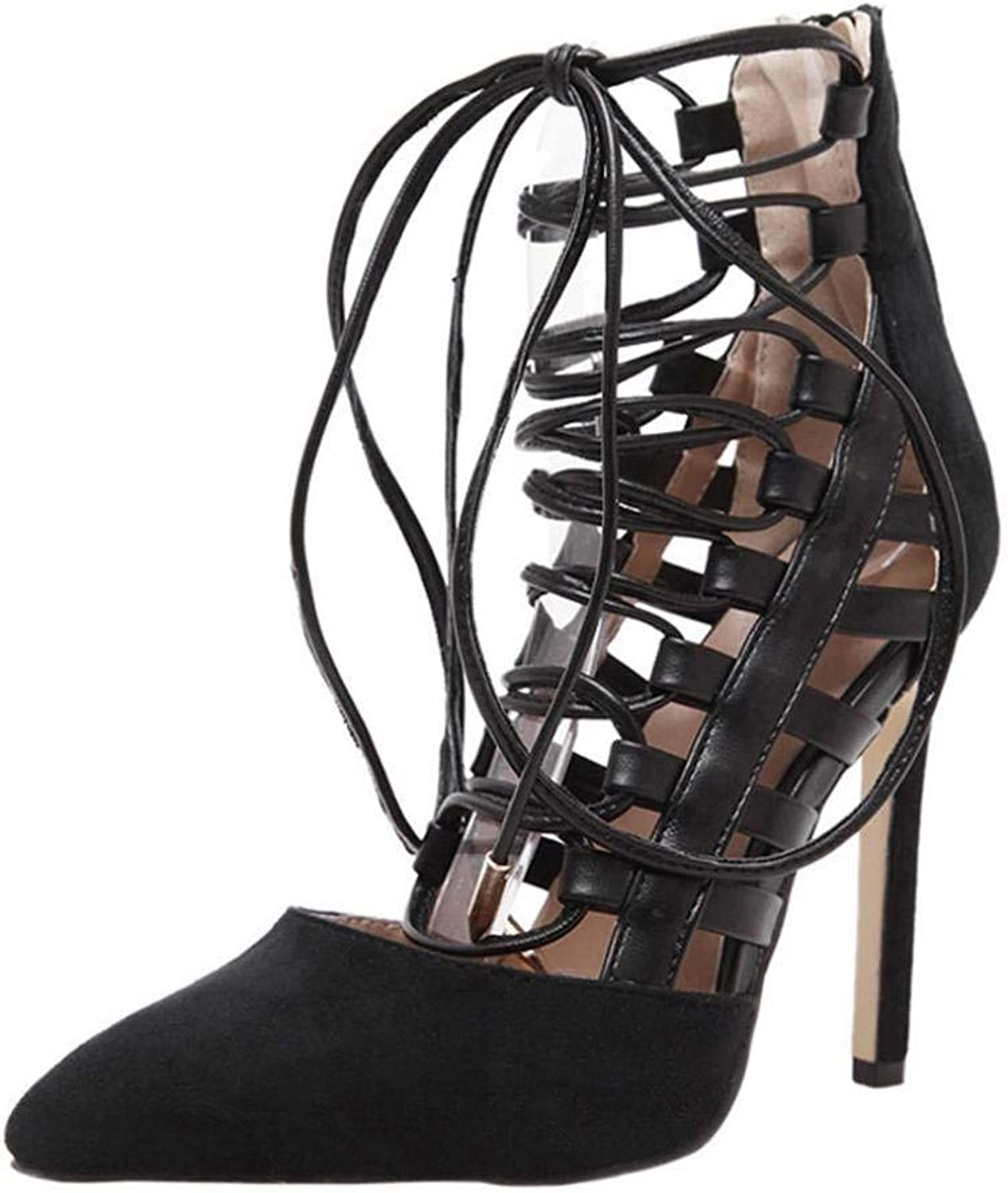 Lady shoes Womens's High Heels Strappy Lace Up Stiletto Fashion Women Sandals Summer Boom shoes Wedges Weave Middle Heel Sandals
