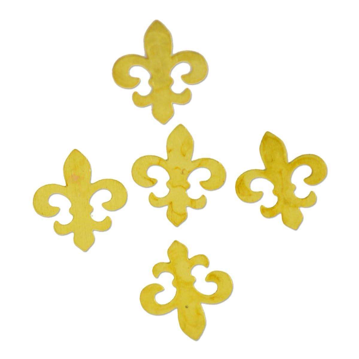 ガチョウ違反する帝国薄型メタルパーツ10048 百合の紋章 リリィ5mm×6mm ゴールド 20p入り