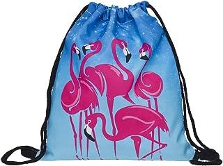 KESYOO Mochila de Ombro Criativa com Cordão de Poliéster Estampa Flamingo para Esportes ao Ar Livre (skd27117)