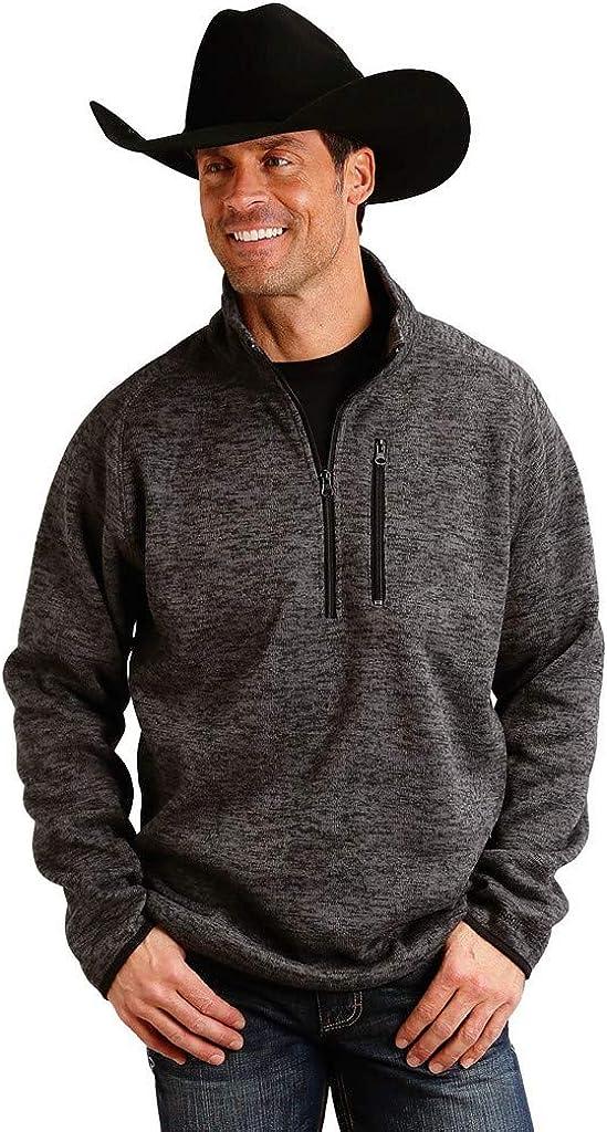 Stetson Men's Grey Bonded 1/4 Zip Front Sweater