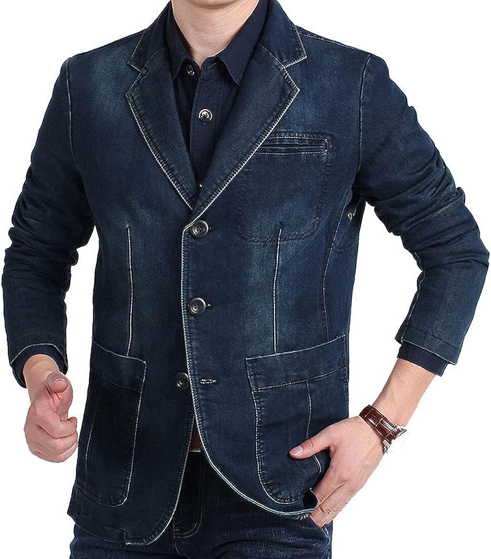 Men's Casual Notched Lapel Collar 3-Button Distressed Denim Jacket Blazer Suits