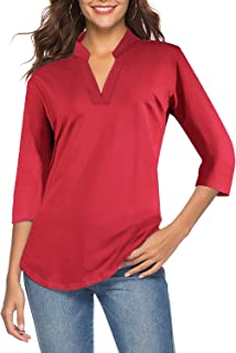 CEASIKERY Women's 3/4 Sleeve V Neck Tops Casual Tunic Blouse Loose Shirt
