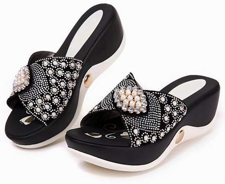Women's Bling Beads Rhinestone PU Wedge Platform High Heel Sandals Mom Summer Casual Soft shoes