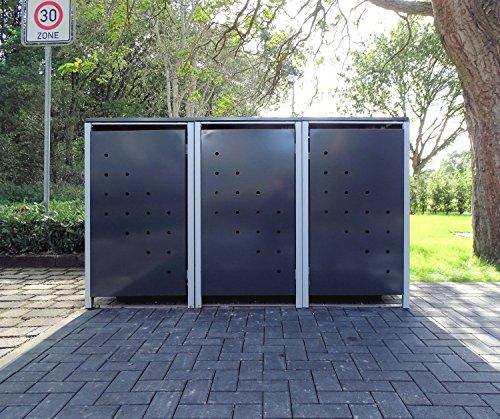3 Mülltonnenboxen Modell No.4 Anthrazitgrau für 240 Liter Mülltonnen / witterungsbeständig durch Pulverbeschichtung / mit Klappdeckel und Fronttür