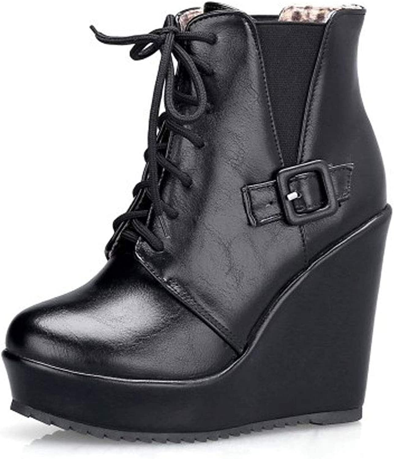 Wedge Short Boots, High Heels Ankle Boots Waterproof Platform Laceing Low Boots Round Head Martin shoes Women's Non-Slip Knight shoes