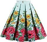 EUDOLAH Falda Plisada Verano hasta la Rodilla Vintage para Mujer con Estampado de Flores(Abeja Azul,XX-Large)