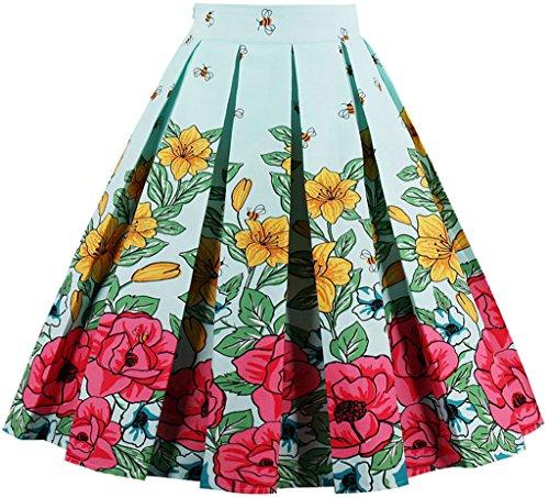 EUDOLAH Damen Kleid Vintage Sommerrock Knielang Faltenrock Stoffdreuck Blau Biene Gr.L