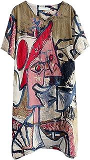 HOOBEE LINEN Women's Graffiti Print Split Baggy Dress with Pockets