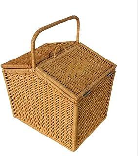 Asdfnfa Basket Picnic Vine Bamboo Basket Portable On Cane Cart asdfnfa (Color : Yellow)