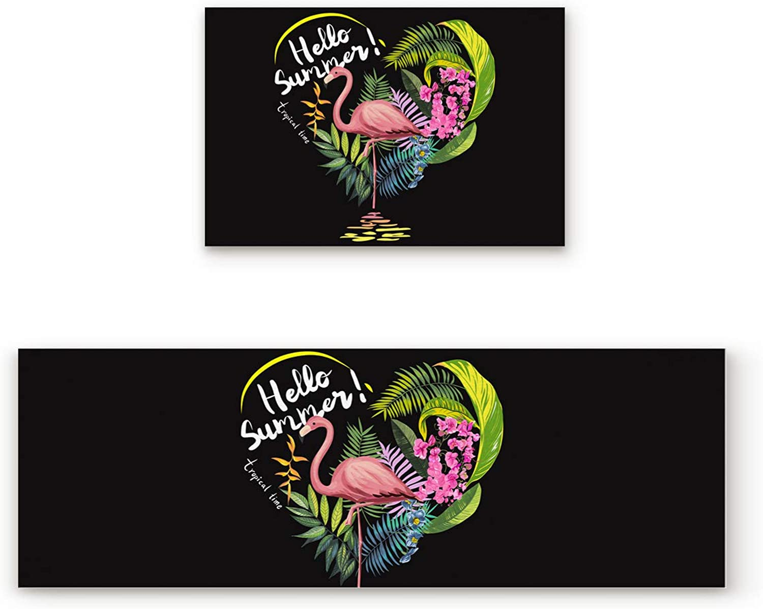KAROLA Kitchen Rug Sets 2 Pieces Non-Skid Kitchen Mats and Rugs Set Kitchen Doormat Runner Rug Set Washable,Flamingo Hello Summer Tropical Time 19.7 x31.5 +19.7 x63