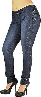 Women's Curvy Fit Blue Stretch Denim Tuxedo Studs Skinny Jeans
