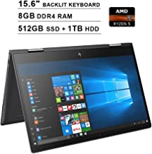 2019 HP Envy x360 15.6 Inch FHD 2-in-1 Touchscreen Laptop (AMD Ryzen 5 2500U 4-Core up to 3.6GHz, 8GB RAM, 512GB SSD + 1TB HDD, AMD Radeon Vega 8, Backlit KB, WiFi, Bluetooth, HDMI, Win10) (Renewed)