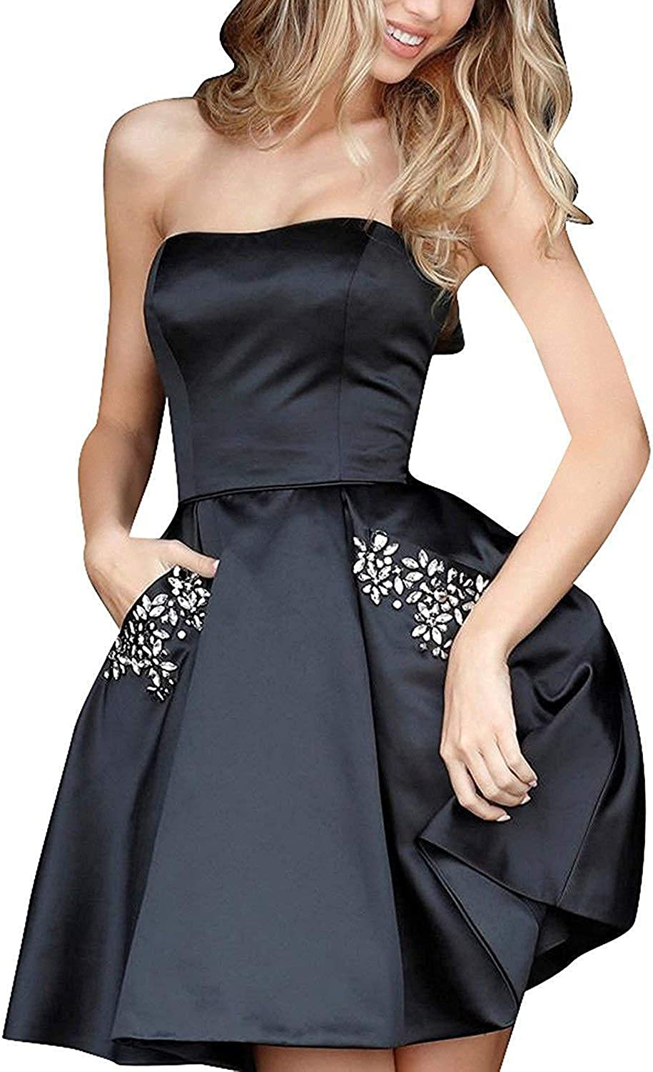 PromC quality assurance Womens Short 2019 Homecoming Dresses Beauty products Bridesma With Pockets