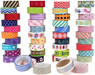 VEYLIN 30 Rolls Craft Washi Tape Set, Decorative Masking Adhesive Tapes for Walls, Scrapbooks, Photo Frame Random Style (No Duplicates) 15mm/0.59inches Wide 5.47 Yd Long