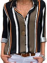 Women Long Sleeve Striped Shirt Turn Down Collar Office Shirt Chiffon Blouse Tops