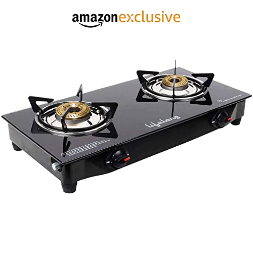 Lifelong LLGS09 Glass Top, 2 Burner Gas Stove, Black