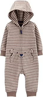 Carter's Baby Boy Striped Hooded French Terry Jumpsuit