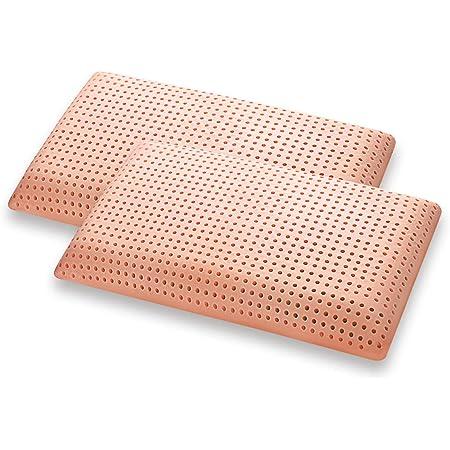 Marcapiuma - Paire d'oreillers Mémoire de Forme - Bio Clean - Lavable en Machine Super HYGIENIQUE et Frais - Coussin Mousse mémoire Bio - Housse 100% Coton - Dispositif Médical - 100% Made in Italy