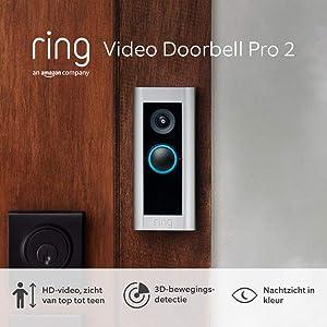 Ring Video Doorbell Pro 2 van Amazon | HD-video, zicht van top tot teen, 3D-bewegingsdetectie, bedrade installatie, met een gratis proefperiode van 30 dagen Ring Protect