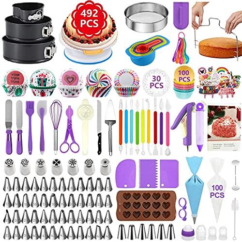 TONVVD Cake Decorating Supplies, 492 Pcs Baking Supplies Cake Decorating Kit for Beginners, 3 Baking Springform Cake Pans Set,54 Piping Icing Tips, 7 Russian Nozzles, Daking Pans,Cake Decorating Tools