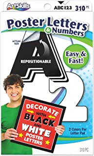 ArtSkills Poster Letters and Numbers, A-Z and 0-9, Assorted, Black and White, 310-Count (PA-1442)