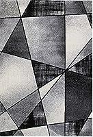 Ladole Rugs 美しいコンテンポラリー エンペラー 幾何学模様 エリアラグ リビングルーム ベッドルーム エントランス 廊下 カーペット グレー ブラック ホワイト 5x8 (5フィート3インチ x 7フィート6インチ 160cm x 230cm) 5x7 8x10 9x12 2x10 4x6フィート