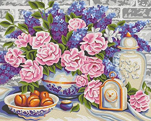 Pintura al óleo de DIY por Números Reloj floral rosa violeta Pintura por Numeros Lienzo Pintura al óleo para Decoración de Paredes del Hogar Regalo ideal 40x50cm(Sin Marco)