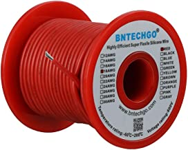 BNTECHGO 18 Gauge Silicone Wire Spool Red 50 feet Ultra Flexible High Temp 200 deg C 600V 18 AWG Silicone Rubber Wire 150 ...