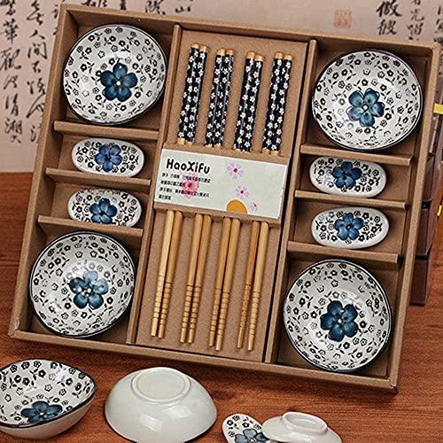 SYGoodBUY Juego de cubiertos de cerámica para sushi, vajilla de sushi para cuatro personas, platos, palillos, soportes para palillos (color azul)