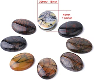 Yellow Black Dragon Veins Agates Cabochon No Hole Stone Beads for Handmade Jewelry Making Handcrafted Accessories,W4,30x40mm