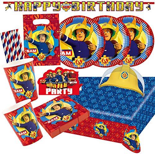 Amscan/Hobbyfun 70-teiliges Party-Set Feuerwehrmann Sam - Teller Becher Servietten Tischdecke Einladungen Partytüten Girlande Hütchen Papiertrinkhalme für 8 Kinder