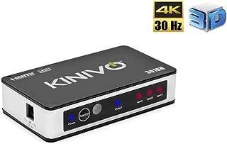 Kinivo 301BN 4K HDMI Switch with IR Wireless Remote (3 Port, 4K 30Hz, Auto-Switching)