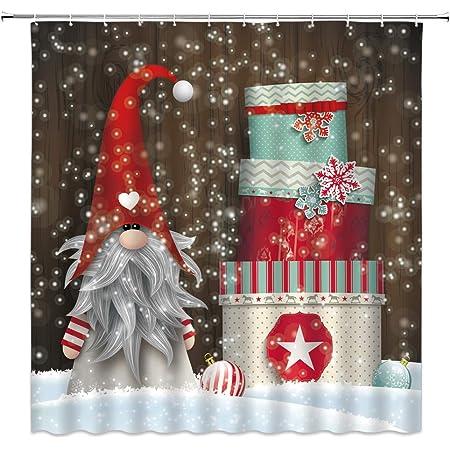 Christmas Snowflakes Cute Snowman Gift Boxes Shower Curtain Set Bathroom Decor