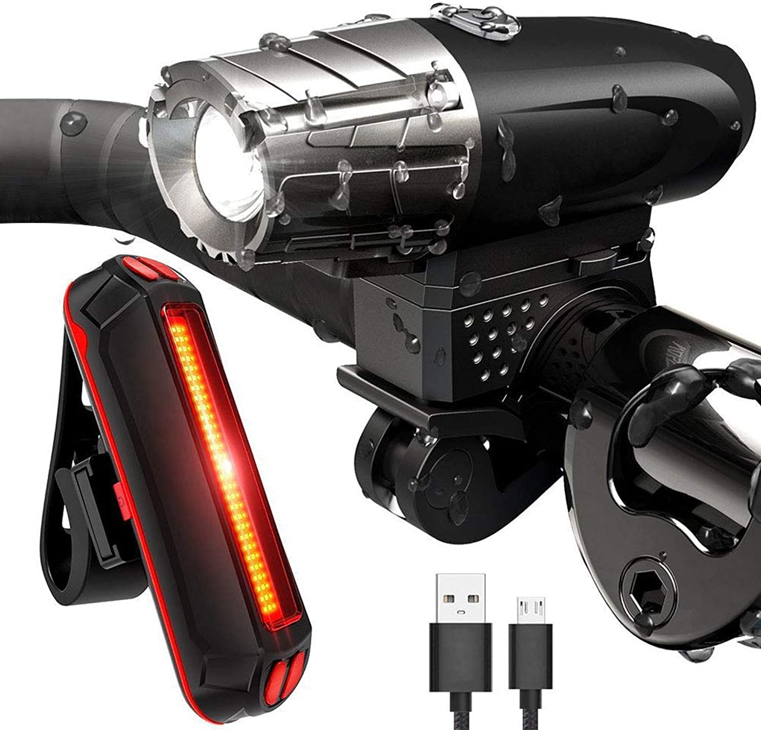 Efanr USB Rechargeable Bike Flashlight Set, 4 Modes Bicycle Front Headlight and Rear Tail Light, Super Bright with 360 Degree redating Quick Release