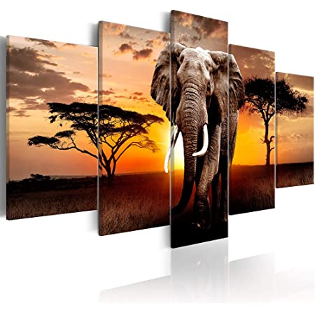 Elephant Picture Canvas Wall Art African Wild Animals Artwork Painting Print For Living Room 36 W X 24 H Multi Sized Posters Prints