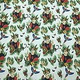 Kt KILOtela Tela de loneta Estampada Digital - Half Panamá 100% algodón - Retal de 100 cm Largo x 280 cm Ancho | Frida Kahlo, sandías y Loros ─ 1 Metro