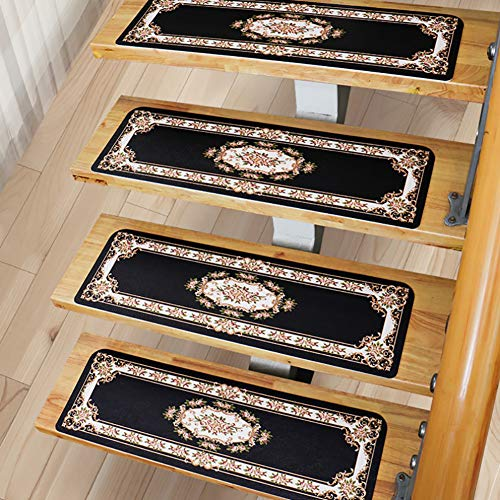 NZHK Stair Treads Carpet Pads Mats Non-Slip Self Adhesive PVC PU Rectangle Solid Wood Staircase Ottomans Washable,Black,55cm