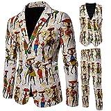 Men's Suit Slim Vintage Ethnic Style Party 3 Piece Jacket Coat Pants Vest White