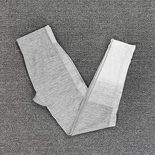 Nologo LUCHAO - Conjunto de yoga sin costuras, para mujer, 2 piezas, ajuste seco, ajustado, manga larga, parte superior de cultivo + leggings de entrenamiento, gimnasio, conjuntos de fitness, Leggings grises, Medium