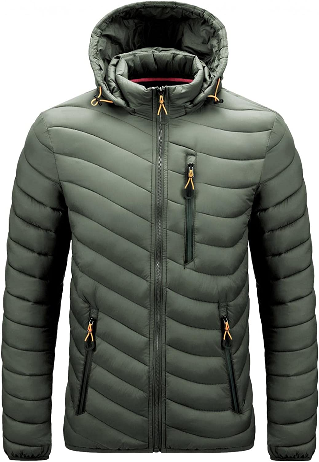 WUAI-Men Down Hoodies Jackets Winter Warm Thicken Classic Outdoor Side Pockets Padded Quilted Puffer Jackets Outwear