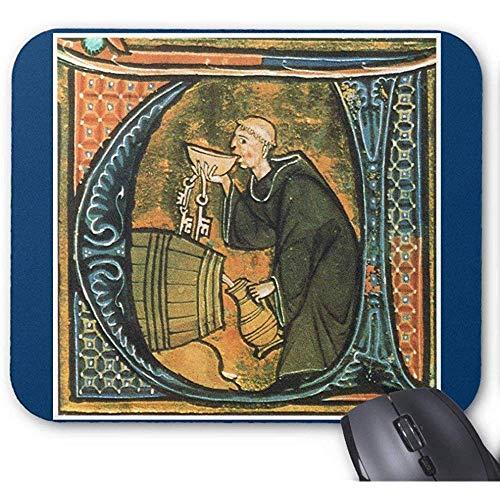 Middeleeuwse monnik proeven wijn Gaming Mousepad 30X25CM