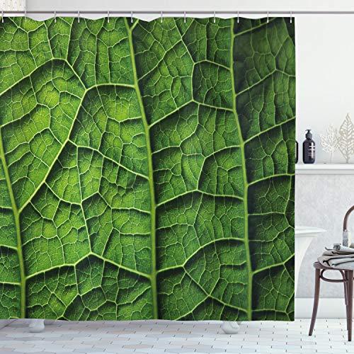 ABAKUHAUS Grün Duschvorhang, Wald-Baum-Blatt Textur, Digital auf Stoff Bedruckt inkl.12 Haken Farbfest Wasser Bakterie Resistent, 175 x 200 cm, Dunkelgrün