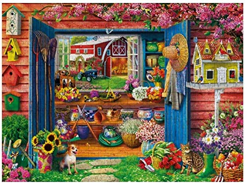 500 Piece Wooden Jigsaw Puzzle Country Life Farm Flower Shed, Every Piece is Unique – Intellectual Decompressing Game for Kids Adults Toy 20.5'x15' in