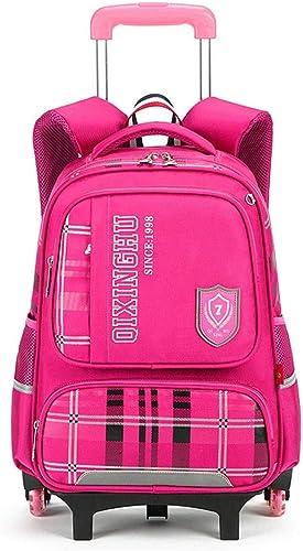 Sac à dos pour enfants Sac à dos d'enfants de Garçons de sac d'école de chariot à roues de sac à dos 3 avec l'escalier s'élevant de chariot réglable pour les écoliers Garçons Filles Utilisation quoti