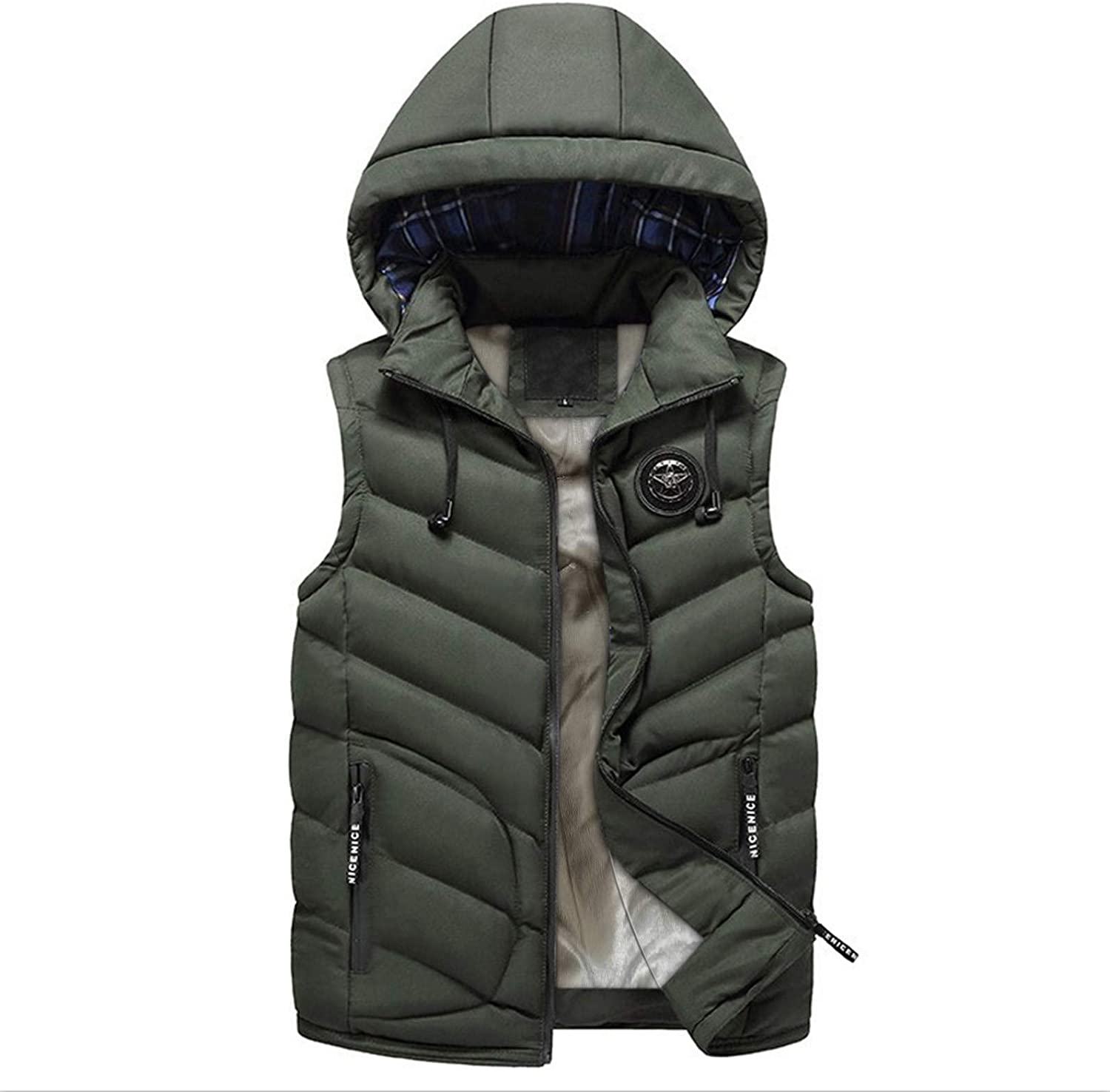 Little Story Man Tops Casual,Fashion Men Autum Winter Hooded Solid Outwear Vest Jacket Tops Blouse Men's Blouse for Easter