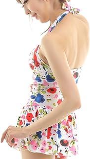 BeauDO(ビュード) ホルターネック ワンピース 花柄 レディース 水着 ワイヤービキニ ショーツ 一体 スカート