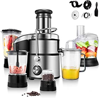 COSTWAY Electric 5-in-1 Professional Food Processer and Juicer Combo, 800W Powerful Motor with 2-Speed, Food Grade Material includes Wide Mouth Centrifugal Juicer, Smoothie Blender, Blender, Chopper Grinder, Meat Grinder and dough blade