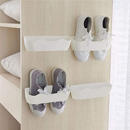 Yocice Wall Mounted Shoes Rack 4pcs with Sticky Hanging Strips, Plastic Shoes Holder Storage Organizer,Door Shoe Hangers (White- SM02(4PCS))