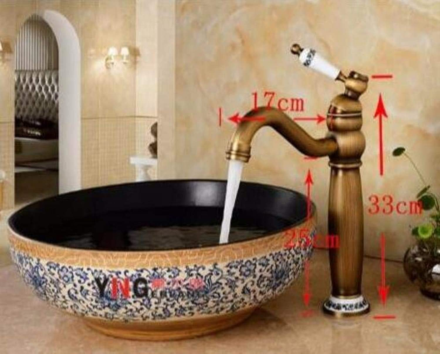 Kai&Guo fashion solid brass construction bathroom hot and cold bronze finish basin faucet,tap sink mixer ceramic base,long